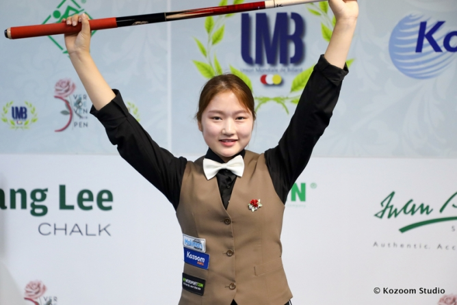 New star in ladies billiards: Jieu Han (18)
